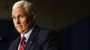MARIETTA, OH - OCTOBER 25: Republican Vice Presidential Candidate Mike Pence speaks at a rally on October 25, 2016 in Marietta, Ohio. Ohio has become one of the key battleground states in the 2016 presidential election with both candidates or their surrogates making weekly visits to the Buckeye State. Unlike other parts of America, Ohio has both a rapidly aging and declining population as well as a high degree of residents without a college education. (Photo by Spencer Platt/Getty Images)