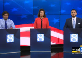 Michigan's Democratic gubernatorial candidates, from left, Shri Thanedar, Gretchen Whitmer, and Abdul El-Sayed, gathered for a televised debate in June. An excerpt provided exclusively to Rewire.News from El-Sayed's soon-to-be-released civil rights agenda included many of the same action points listed in Whitmer's plan. Both would move to repeal a 1931 law, PA 328, criminalizing abortion in Michigan.   Wood TV8 / YouTube